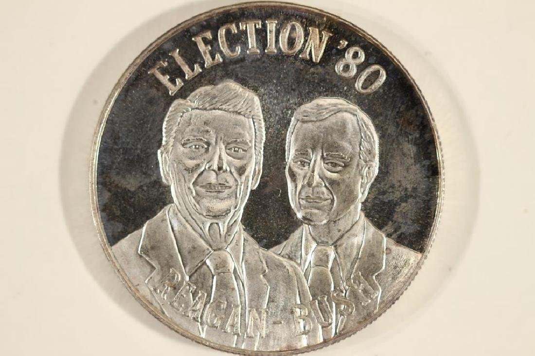 1 TROY OZ .999 FINE SILVER PROOF ROUND ELECTION'80