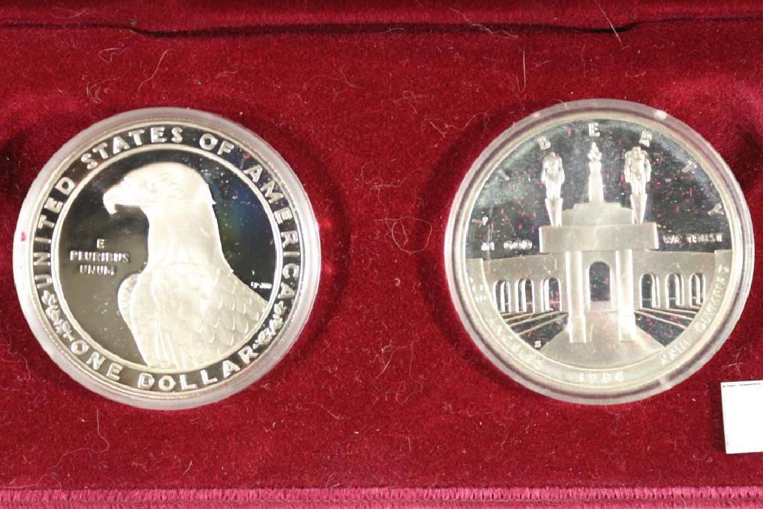 1983-S & 1984-S US OLYMPICS 2 COIN PROOF SILVER $ - 2