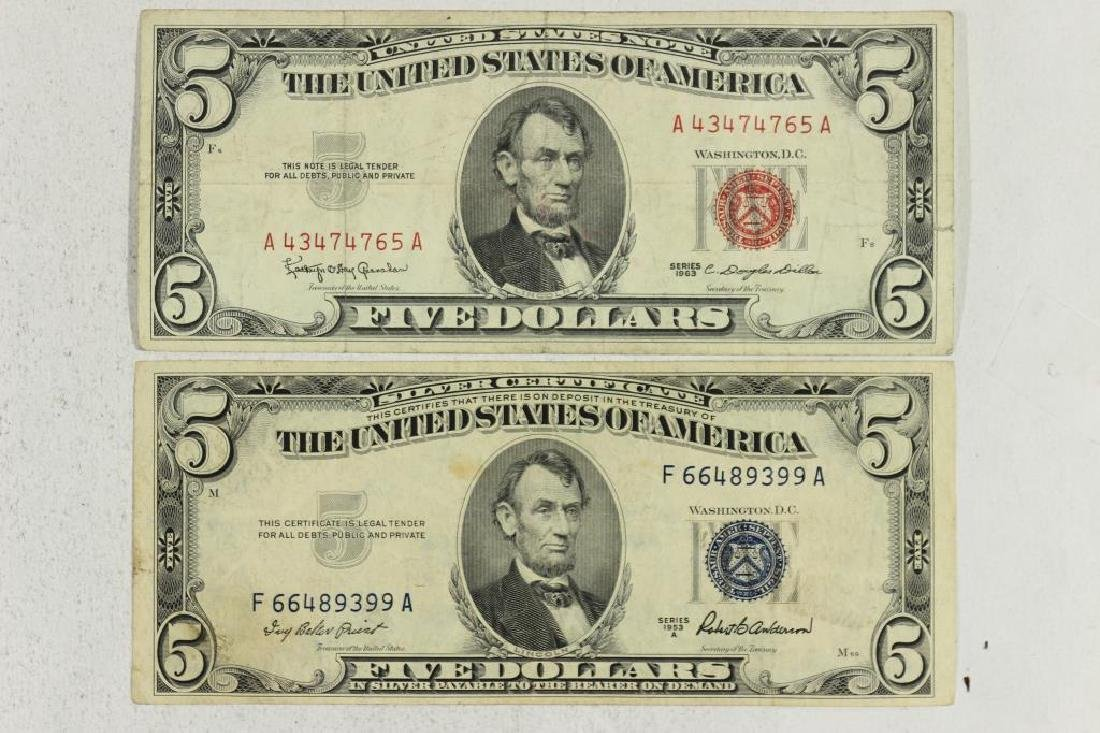 1953-A $5 SILVER CERTIFICATE & 1963 $5 US NOTE