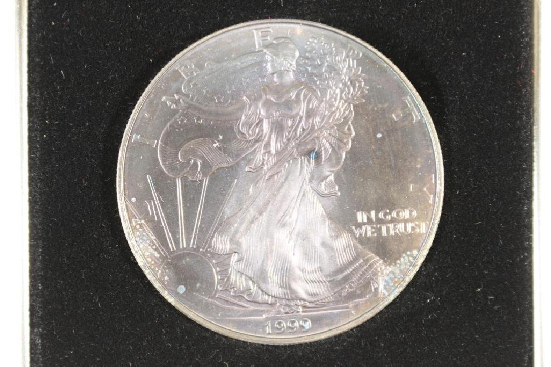 1999 AMERICAN SILVER EAGLE UNC NICE OBV. TONING