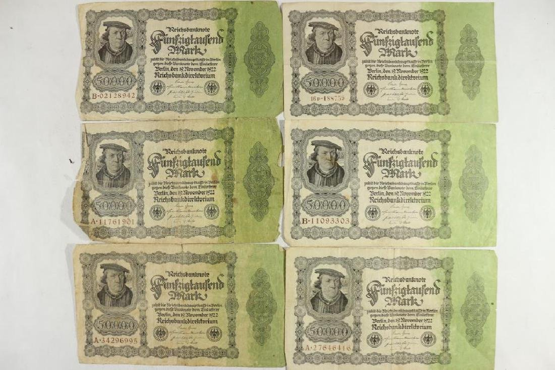 6-LARGE SIZE 1922 GERMAN 50000 MARK NOTES