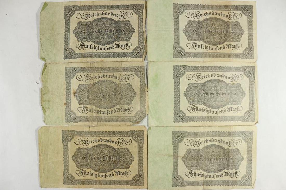6-LARGE SIZE 1922 GERMAN 50000 MARK NOTES - 2