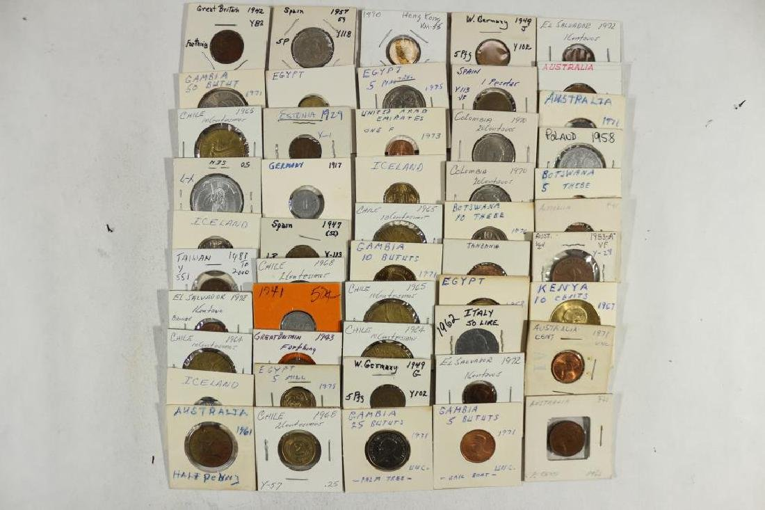 50 ASSORTED FOREIGN COINS ALL FLIPPED AND