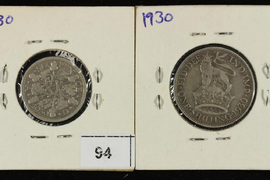 GREAT BRITAIN 1930 SILVER 6 PENCE & SHILLING