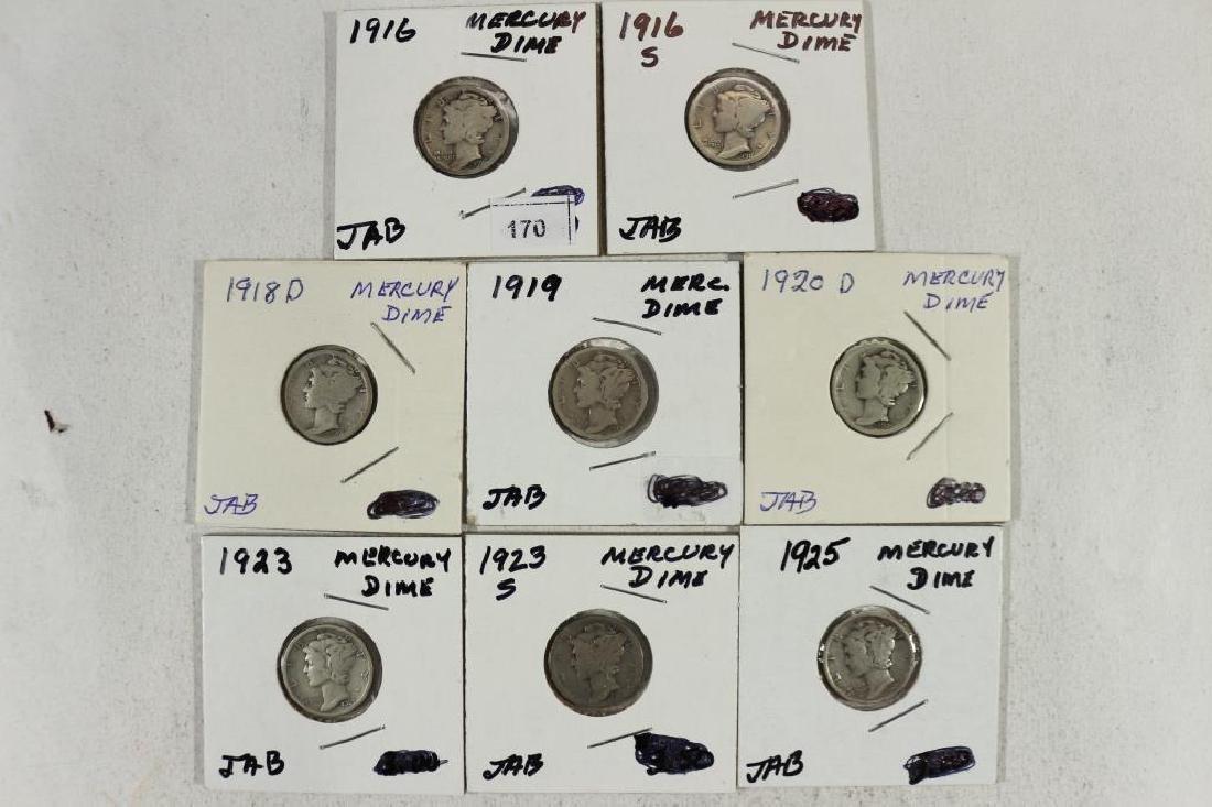 1916,16-S,18-D,19,20-D,23,23-S & 25 MERCURY DIMES