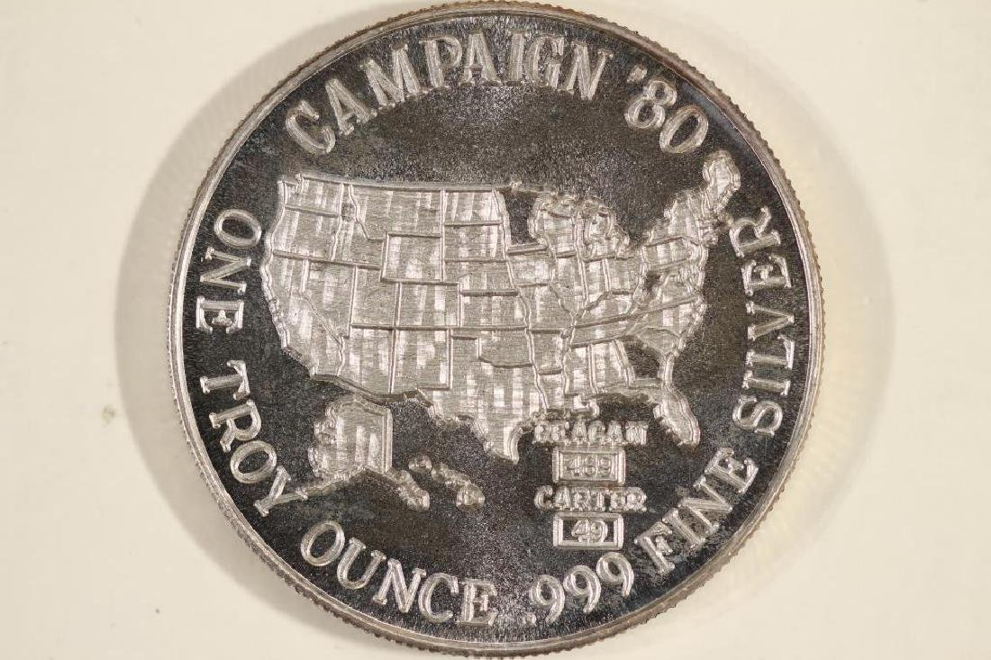 1 TROY OZ .999 FINE SILVER PROOF ROUND ELECTION'80 - 2