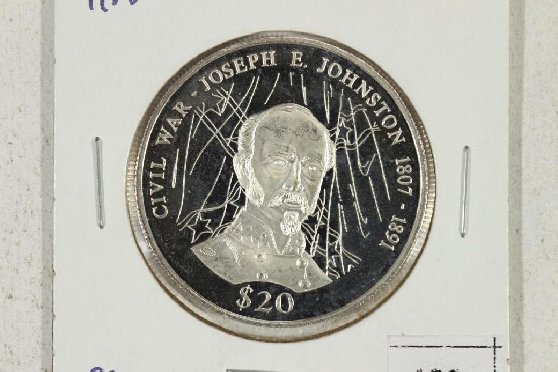 """2000 LIBERIA SILVER PROOF $20 CIVIL WAR """"JOSEPH E."""