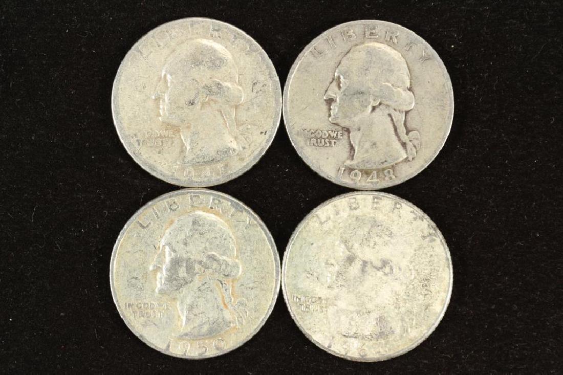 1941,48-S,50 & 64 WASHINGTON SILVER QUARTERS