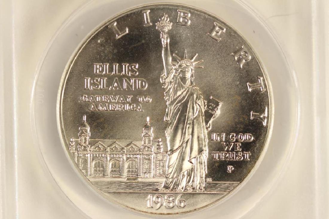 1986-P STATUE OF LIBERTY SILVER DOLLAR ANACS MS68
