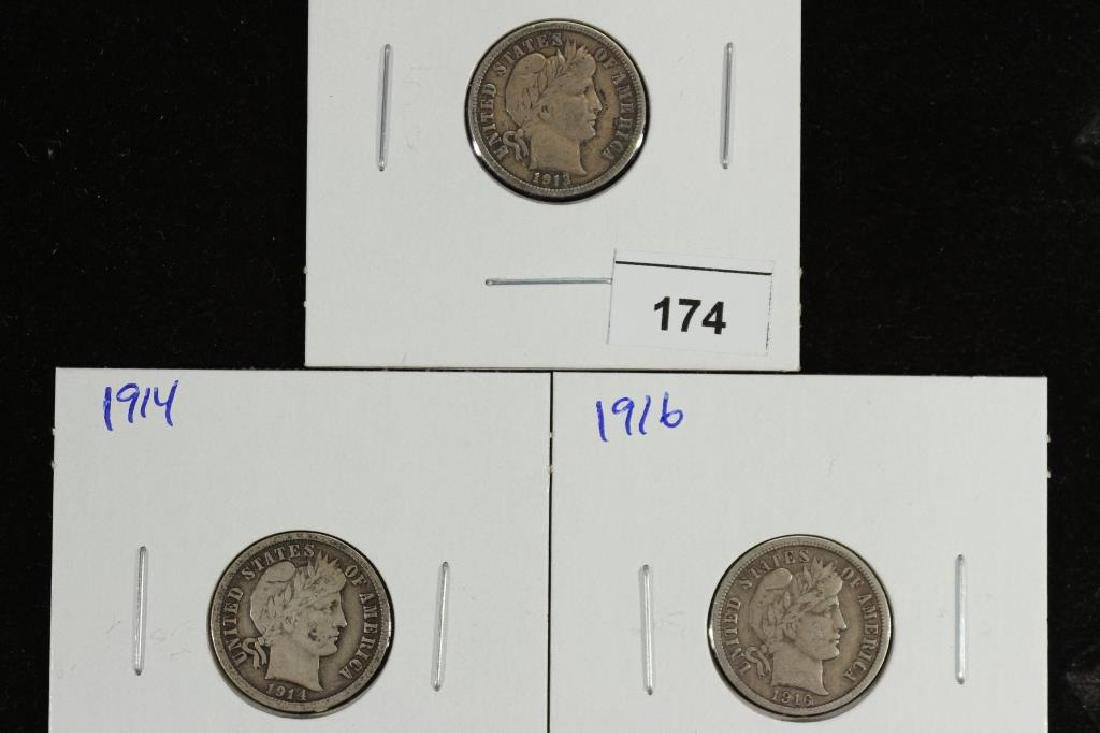1913,14 & 16 BARBER DIME ALL FINES