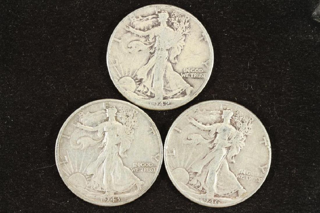 1942,43-S & 46 WALKING LIBERTY HALF DOLLARS