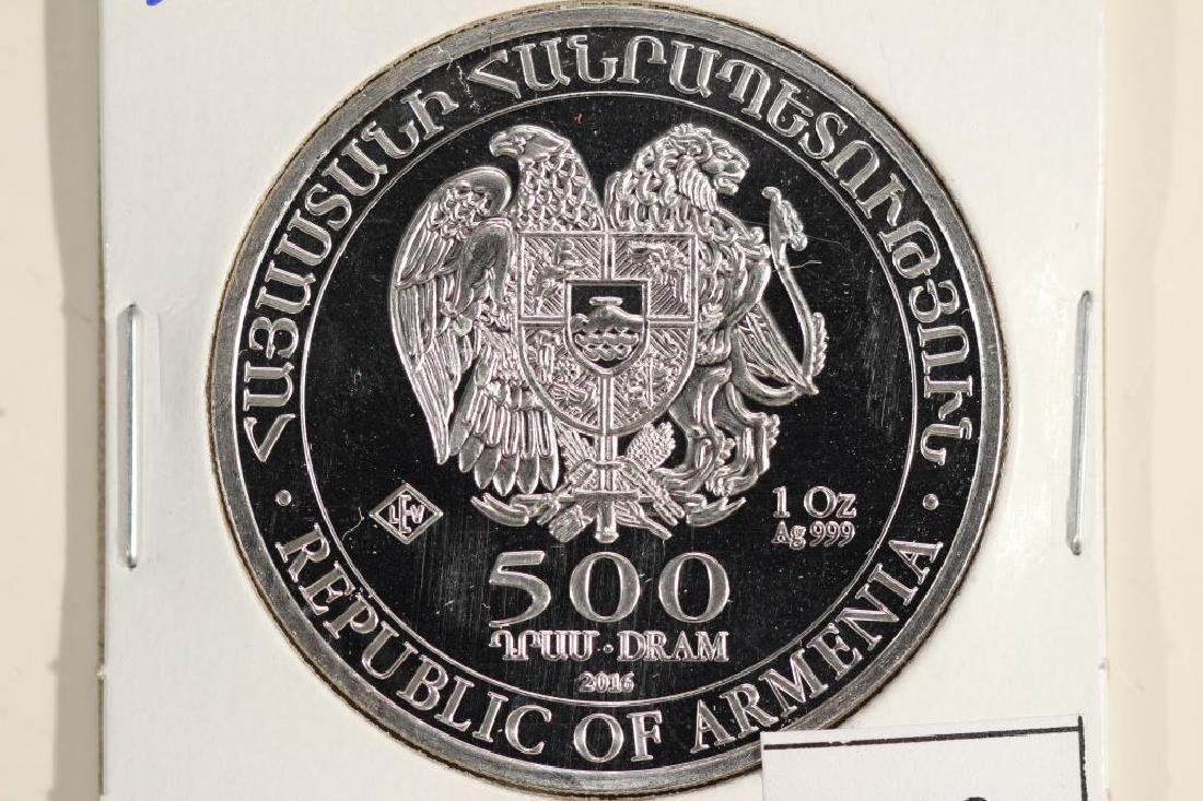 "2016 ARMENIA SILVER PROOF 500 DRAM ""NOAH'S ARK"" - 2"