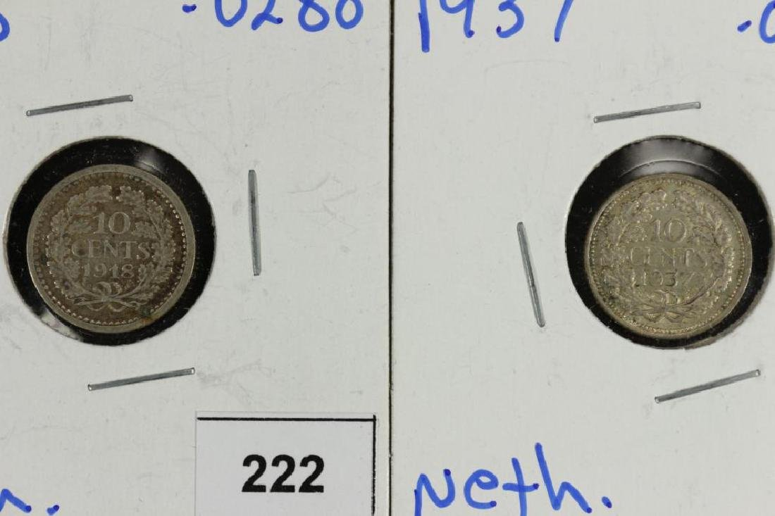 1918 & 1937 NETHERLANDS SILVER 10 CENTS