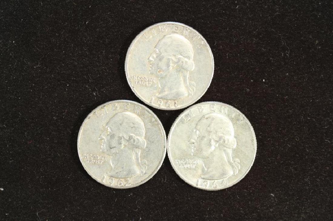 1961,62-D & 64-D WASHINGTON SILVER QUARTERS