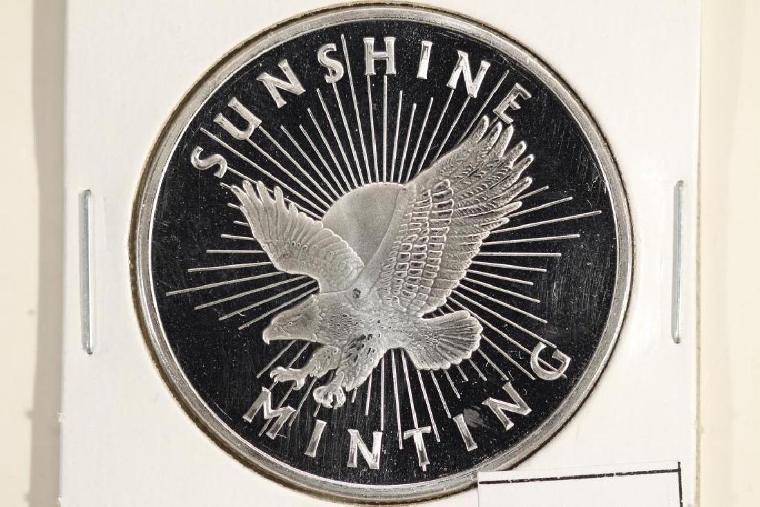 1 TROY OZ .999 FINE SILVER PROOF ROUND SUNSHINE