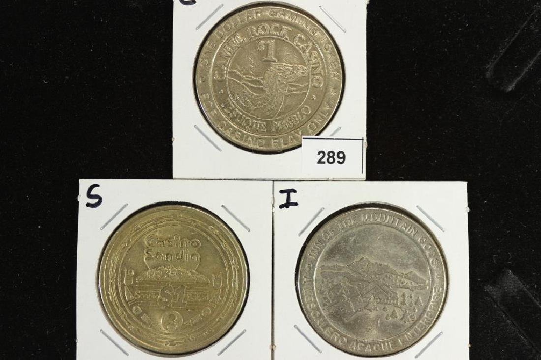 3 ASSORTED NEW MEXICO DOLLAR GAMING TOKENS