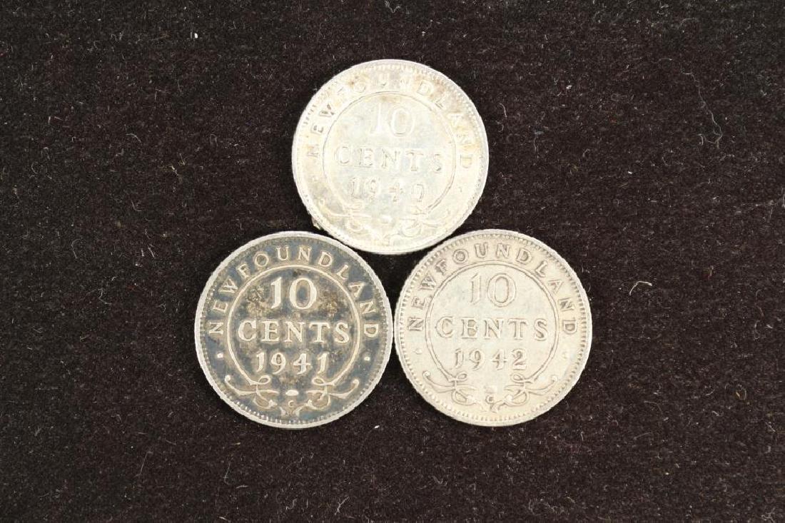 1940,41 & 1942 NEWFOUNDLAND SILVER 10 CENTS