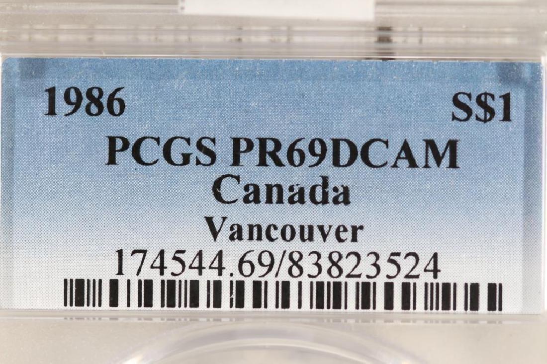 1986 CANADA VANCOUVER SILVER DOLLAR PCGS PR69 DCAM - 3