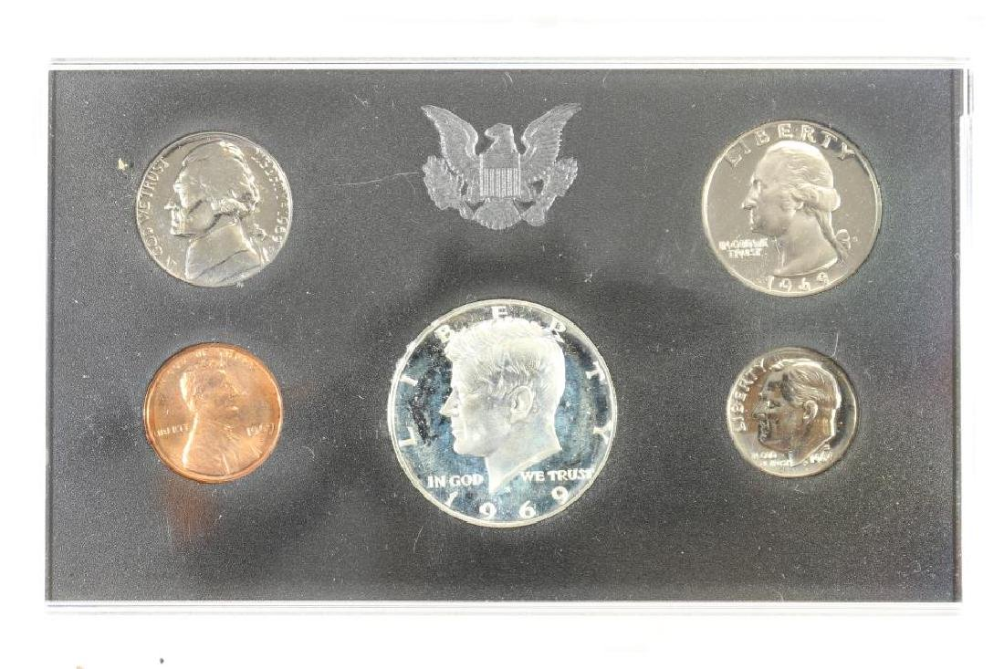 1969 US PROOF SET WITH NO BOX, 40% SILVER JFK HALF
