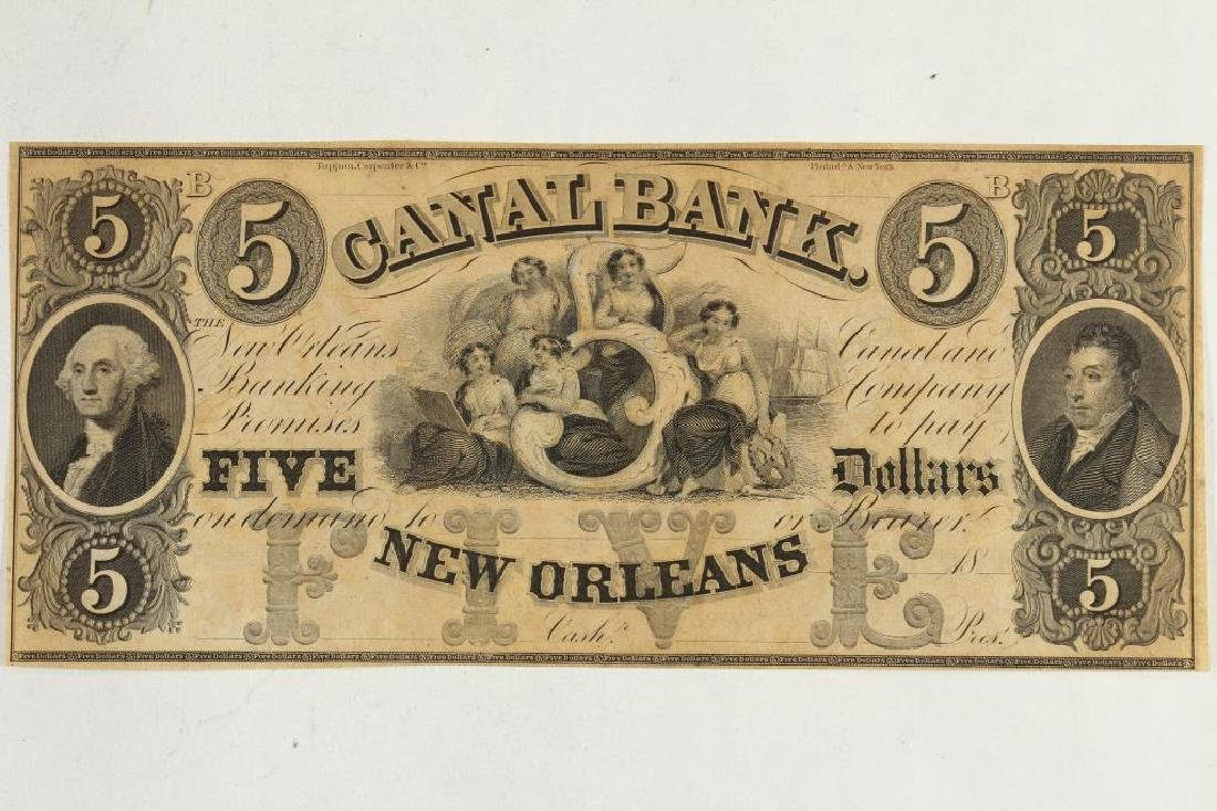 $5 CANAL BANK OF NEW ORLEANS OBSOLETE BANK NOTE