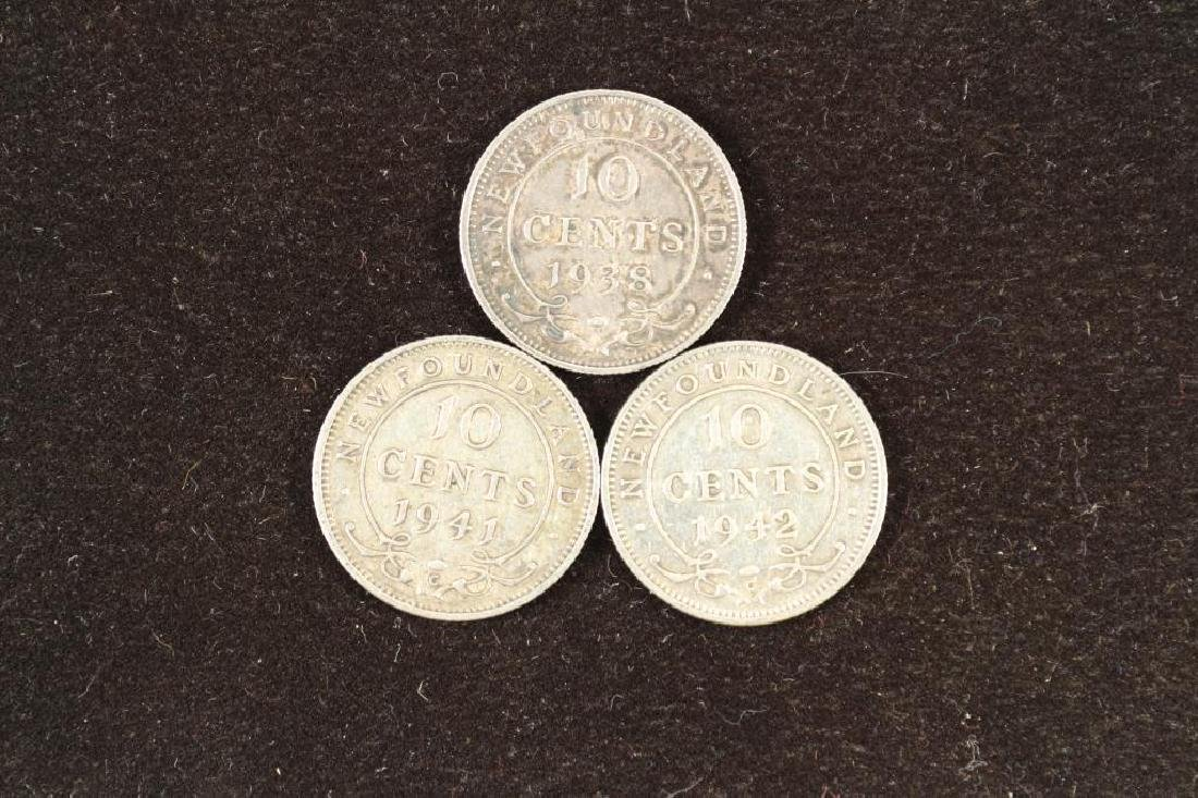 1938,41 & 42 NEWFOUNDLAND SILVER 10 CENTS