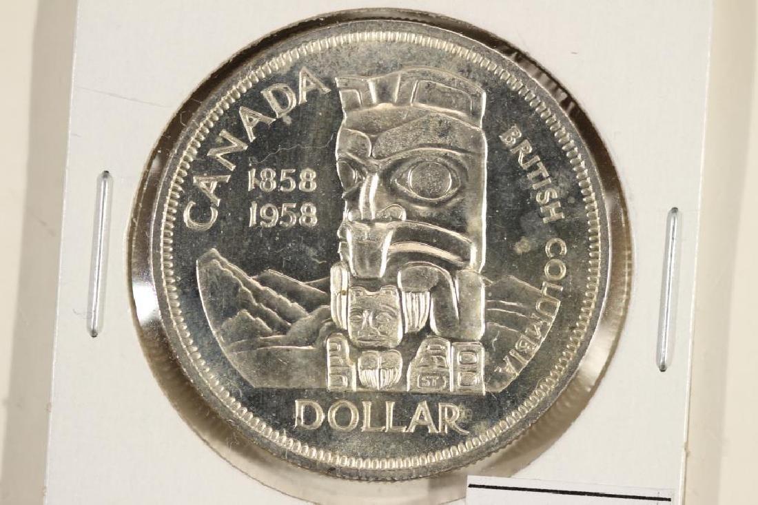 1958 CANADA TOTEM POLE SILVER DOLLAR UNC