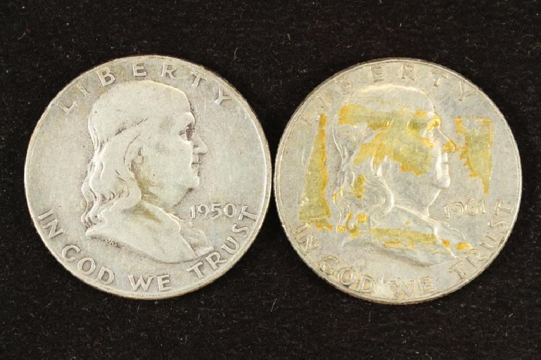 1950 & 1961-D FRANKLIN HALF DOLLARS