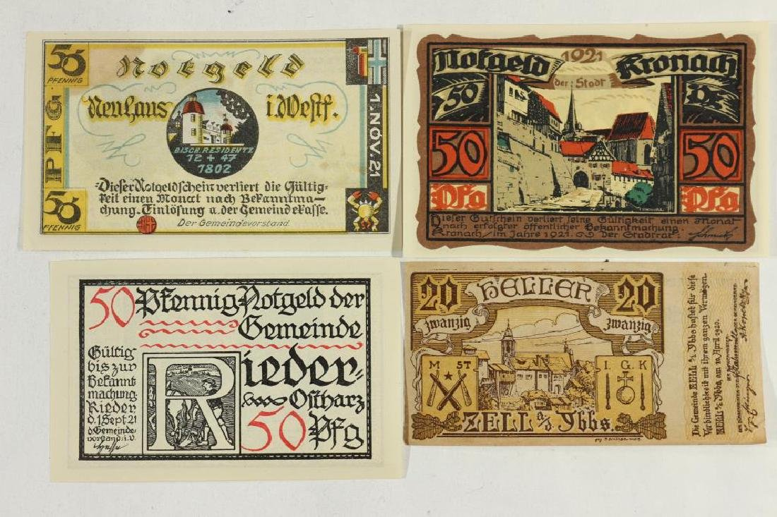 4 PIECES OF VINTAGE GERMAN NOTGELDS 1-20 & 3-50