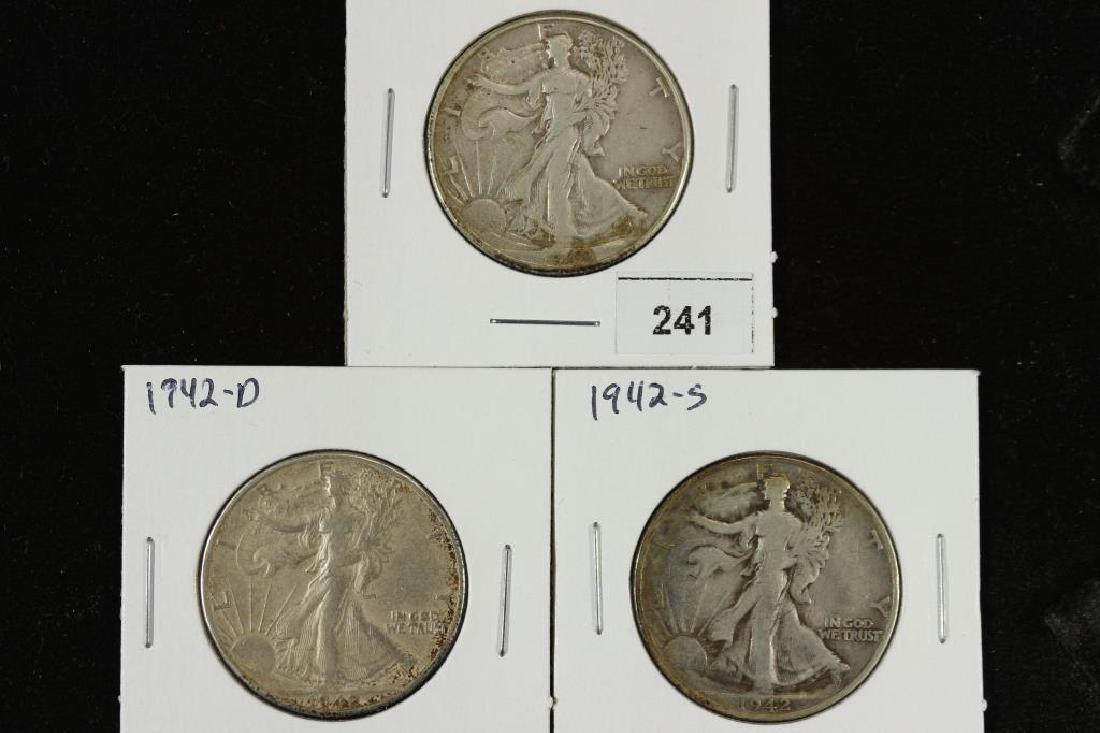 1942-P/D/S WALKING LIBERTY HALF DOLLARS