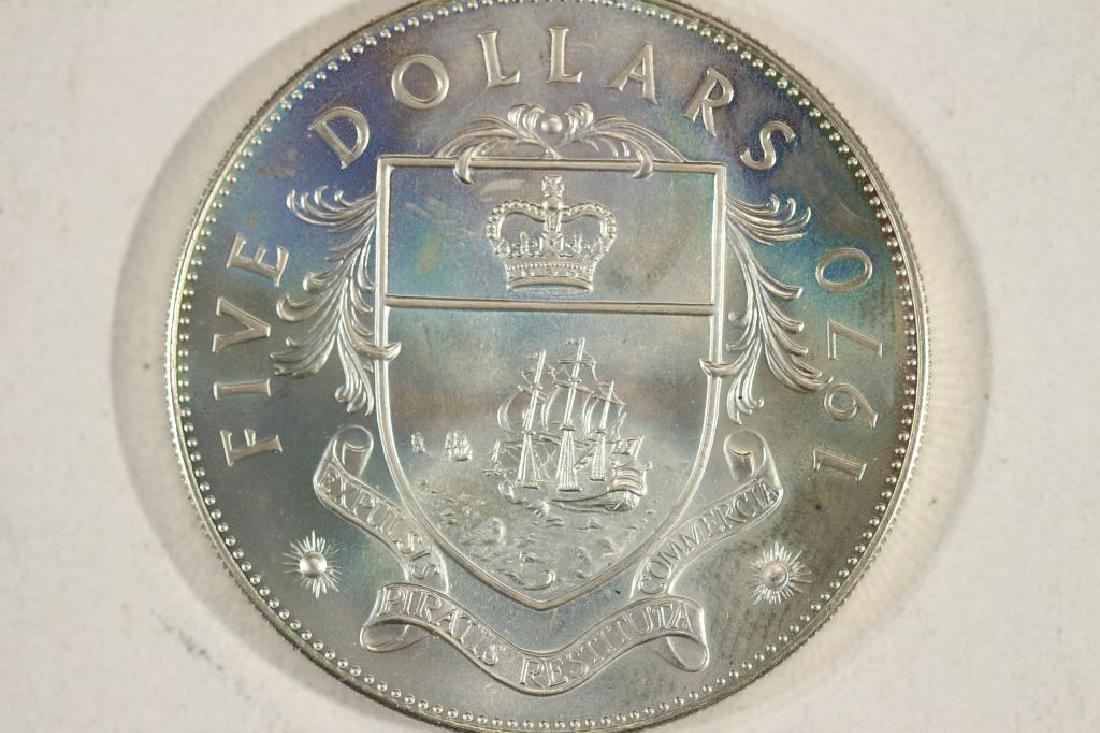 1970 BAHAMAS SILVER $5 UNC 1.2526 OZ. ASW