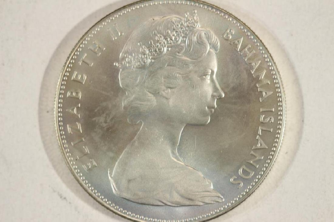 1970 BAHAMAS SILVER $5 UNC 1.2526 OZ. ASW - 2
