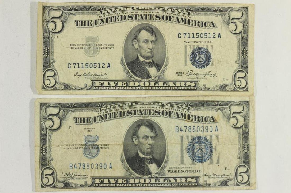 1934 & 1953 $5 SILVER CERTIFICATES BLUE SEALS