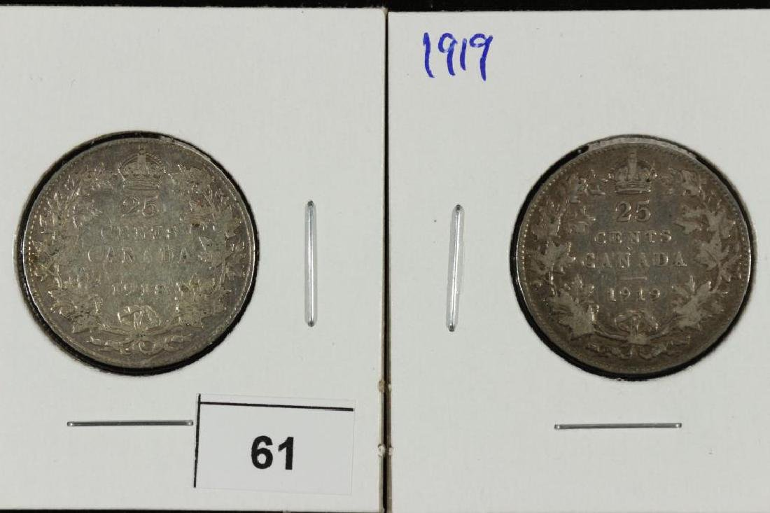 1918 & 1919 CANADA SILVER 25 CENTS