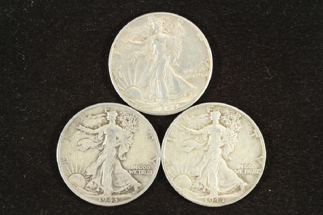 1942-D, 1943 & 1944-S WALKING LIBERTY HALF DOLLARS