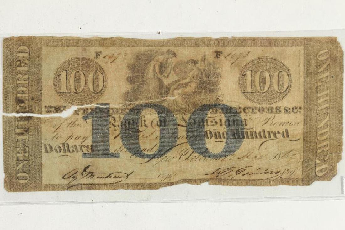 1862-$100 BANK OF LOUISIANA OBSOLETE BANK NOTE
