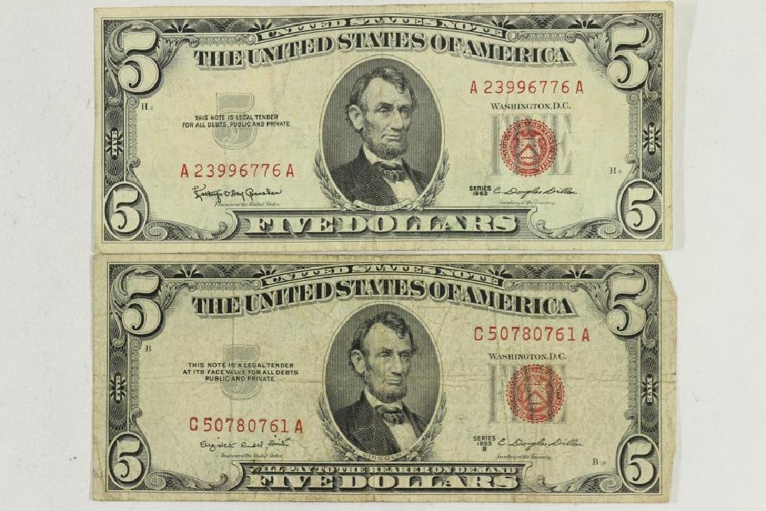 1953-B & 1963 $5 US NOTES RED SEALS