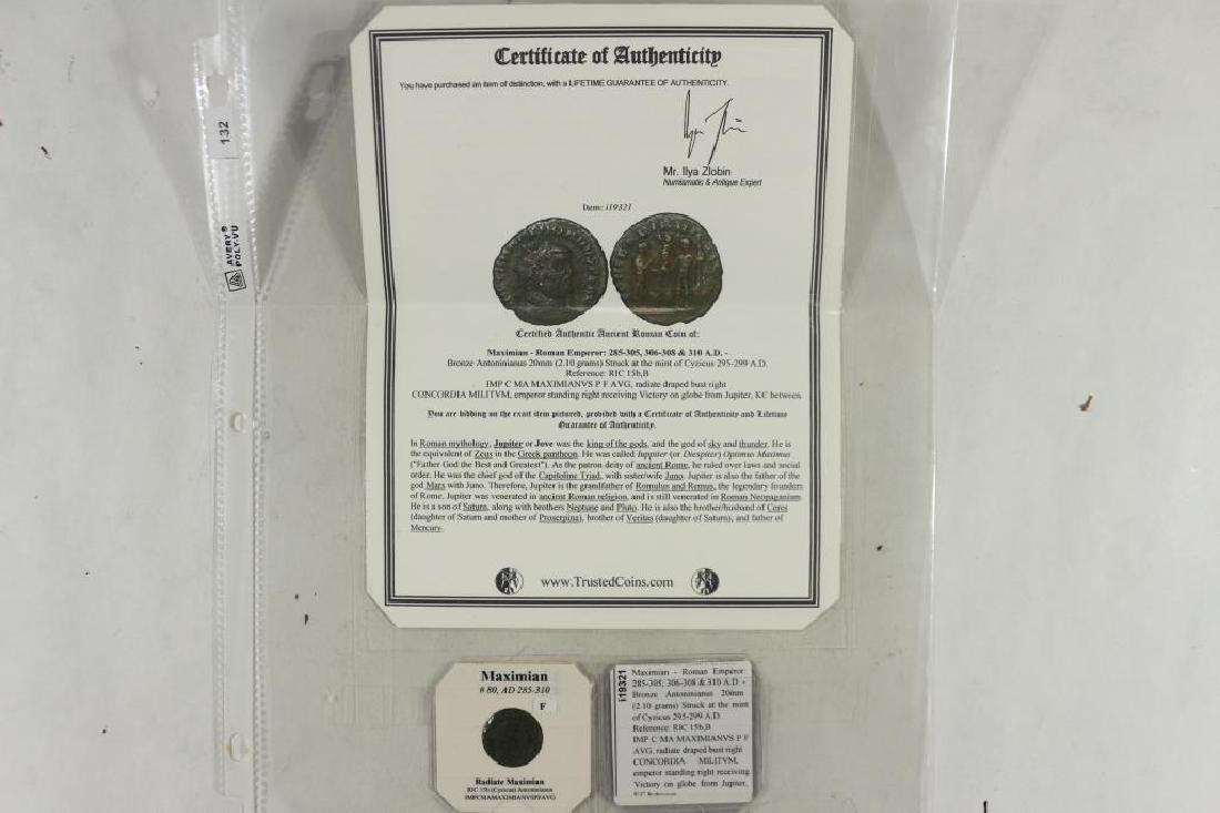 285-310 A.D. MAXIMIAN ANCIENT COIN (FINE)