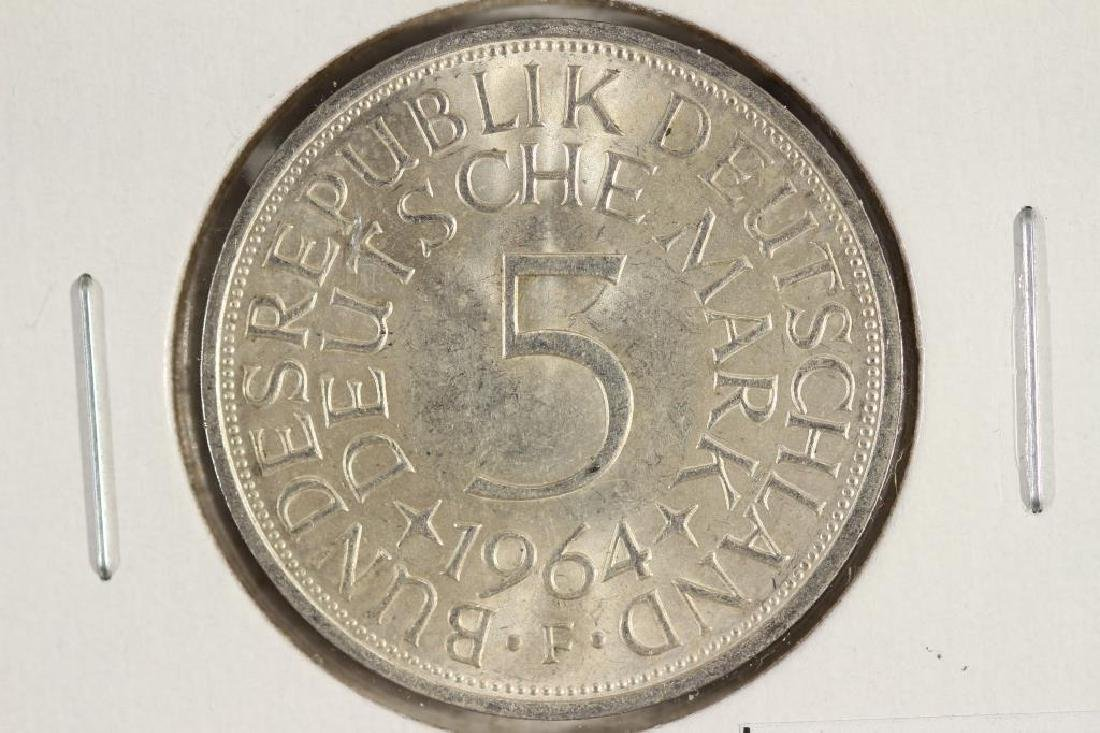 1964-F GERMAN SILVER 5 MARK