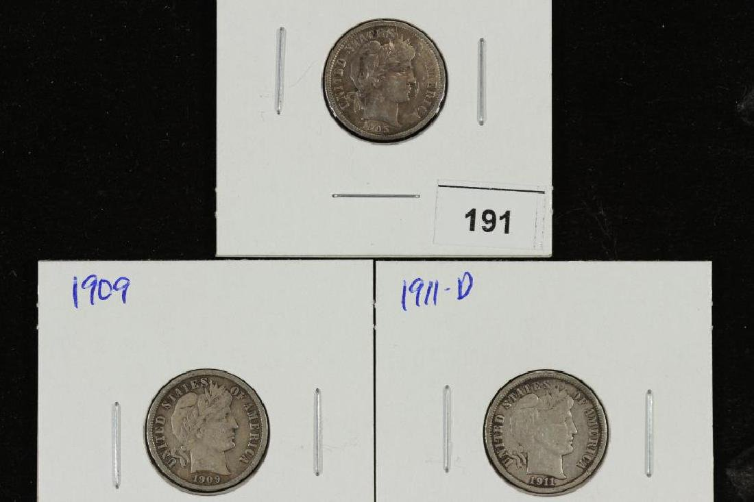 1905,09 & 1911-D BARBER DIMES ALL VERY FINES