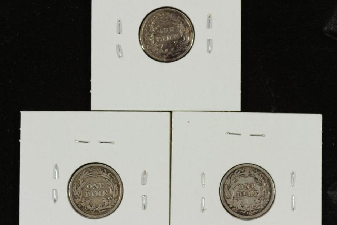 1905,09 & 1911-D BARBER DIMES ALL VERY FINES - 2