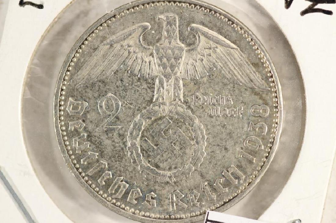 1938-E GERMAN SILVER 2 MARK