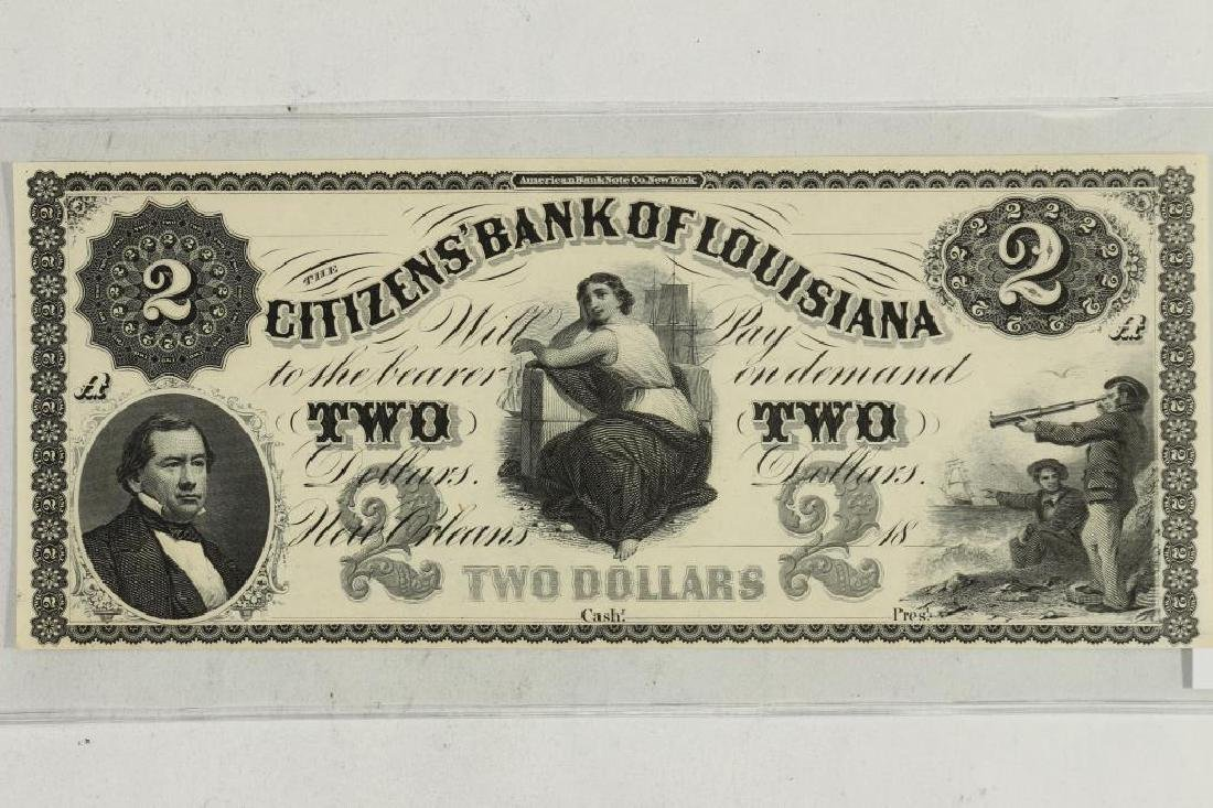 $2 CITIZENS BANK OF LOUISIANA OBSOLETE BANK NOTE