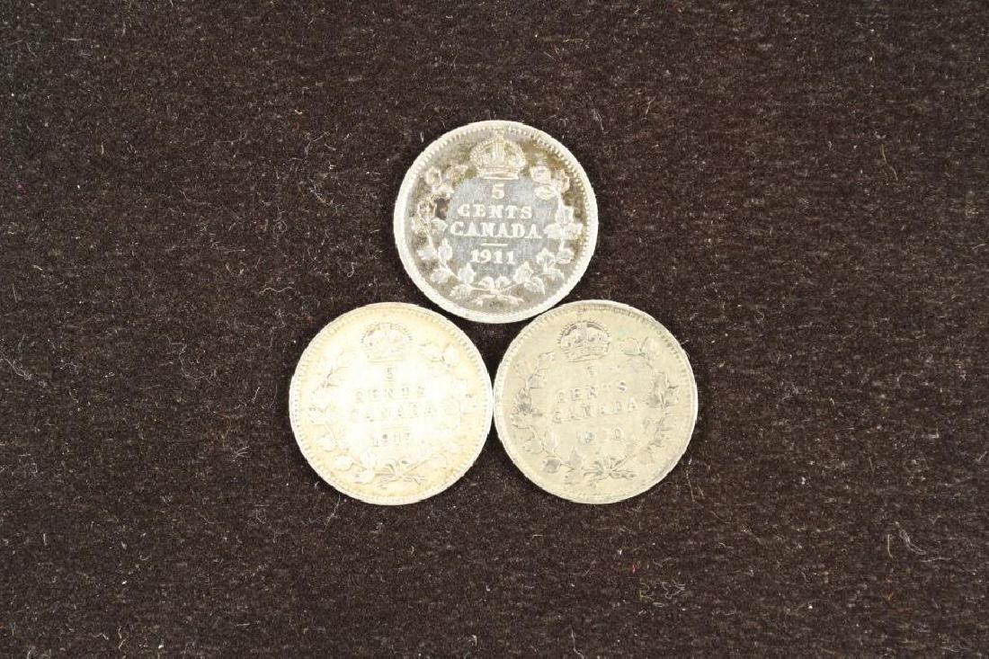 1911, 1917 & 1920 CANADA SILVER 5 CENTS