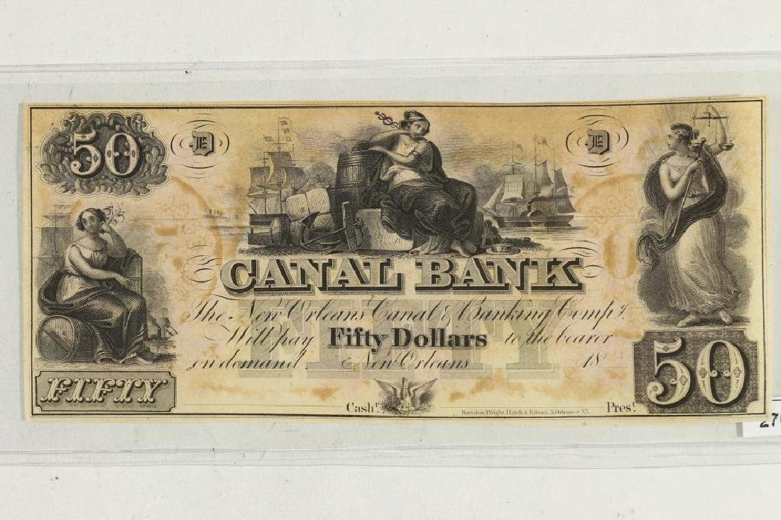 $50 CANAL BANK OF NEW ORLEANS OBSOLETE BANK NOTE