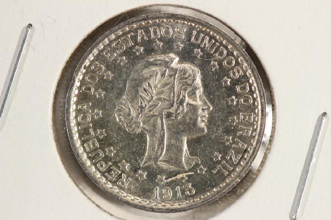 1913 BRAZIL SILVER 500 REIS UNC