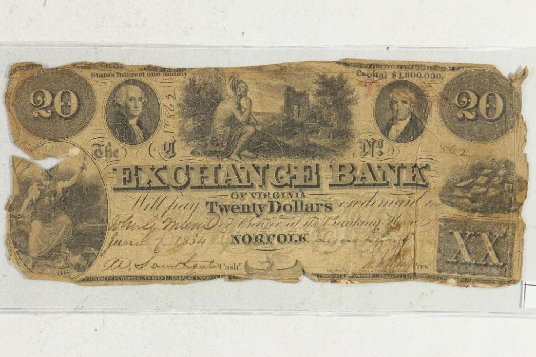 1862 $20 EXCHANGE BANK OF VIRGINIA HAND SIGNED AND