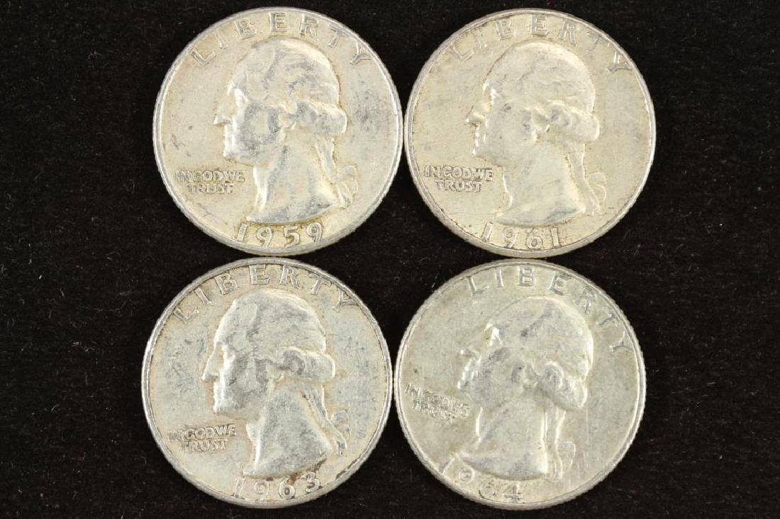 1959,61,63-D & 64-D WASHINGTON SILVER QUARTERS