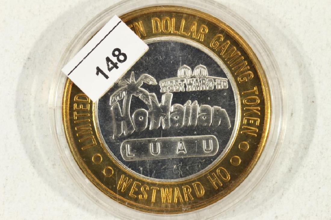 CASINO $10 SILVER TOKEN (UNC) WESTWARD-HO