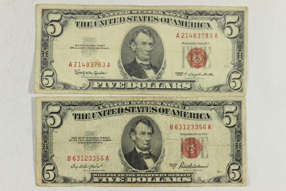 1953-A & 1963 $5 US NOTES RED SEALS