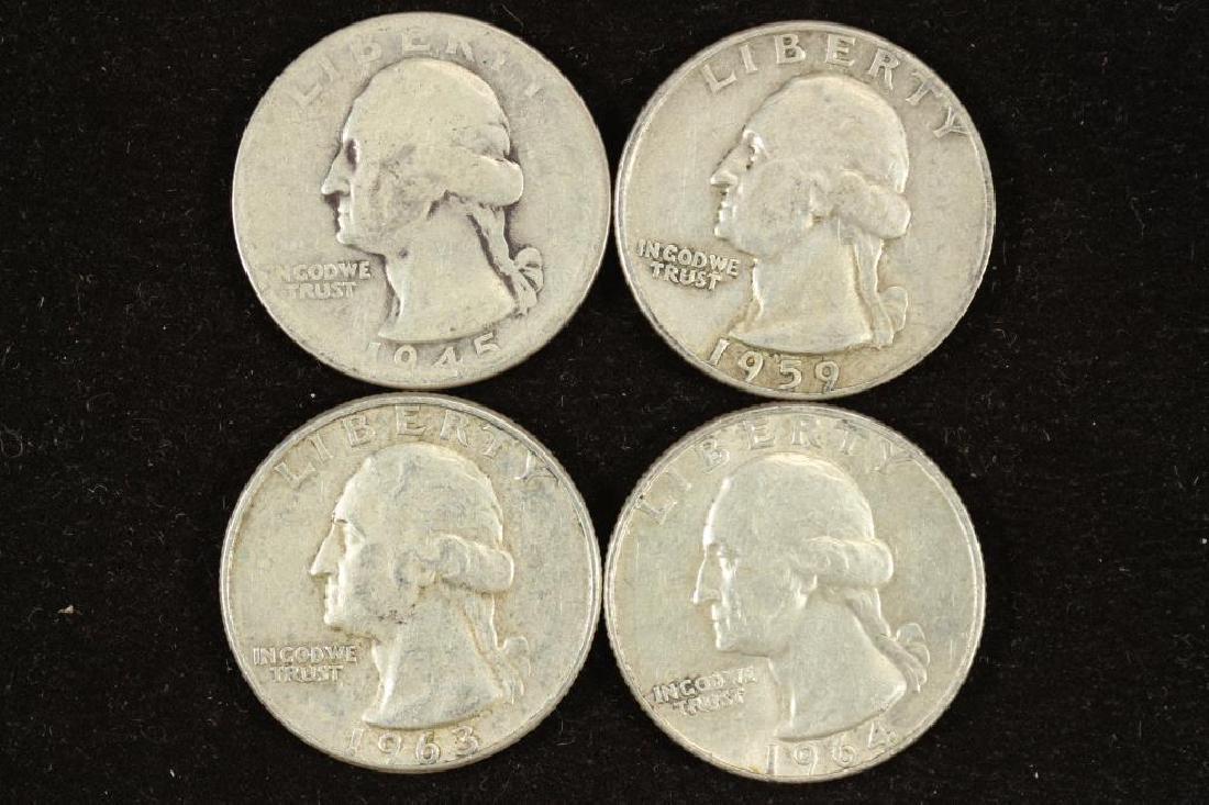 1945,59-D,63-D & 64-D WASHINGTON SILVER QUARTERS